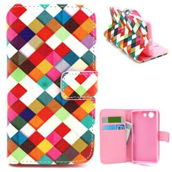 Color Plaid Leather Wallet Case for Sony Xperia Z3 Compact Mini D5803 M55w