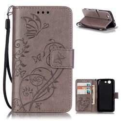 Embossing Butterfly Flower Leather Wallet Case for Sony Xperia Z3 Compact Mini D5803 M55w - Grey