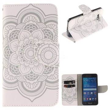 White Flowers PU Leather Wallet Case for Samsung Galaxy Grand Prime G530