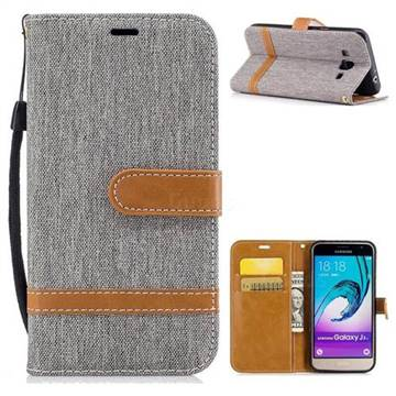 Jeans Cowboy Denim Leather Wallet Case for Samsung Galaxy J3 2016 J320 - Gray