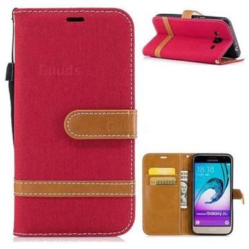 Jeans Cowboy Denim Leather Wallet Case for Samsung Galaxy J3 2016 J320 - Red