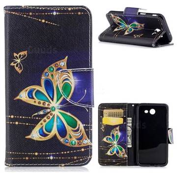 Golden Shining Butterfly Leather Wallet Case for Samsung Galaxy J3 2017 J330