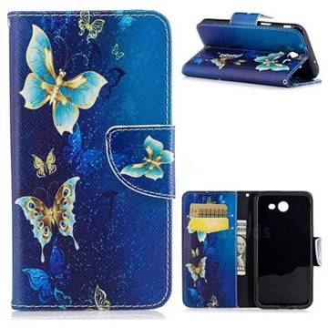 Golden Butterflies Leather Wallet Case for Samsung Galaxy J3 2017 J330