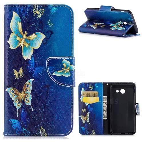 Golden Butterflies Leather Wallet Case for Samsung Galaxy J5 2017 J530