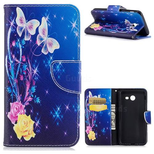 Yellow Flower Butterfly Leather Wallet Case for Samsung Galaxy J5 2017 J530