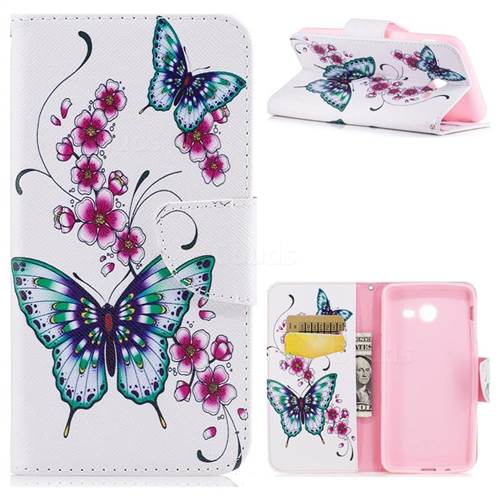 Peach Butterfly Leather Wallet Case for Samsung Galaxy J5 2017 J530