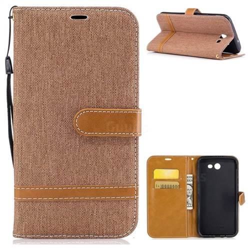 Jeans Cowboy Denim Leather Wallet Case for Samsung Galaxy J7 2017 J730 - Brown
