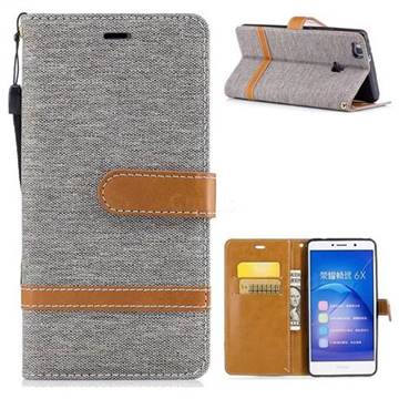 Jeans Cowboy Denim Leather Wallet Case for Huawei Honor 6X Mate9 Lite - Gray