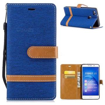 Jeans Cowboy Denim Leather Wallet Case for Huawei Honor 6X Mate9 Lite - Sapphire