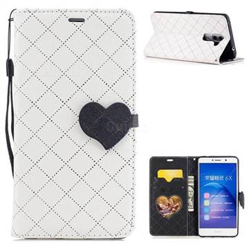Symphony Checkered Dual Color PU Heart Leather Wallet Case for Huawei Honor 6X Mate9 Lite - White