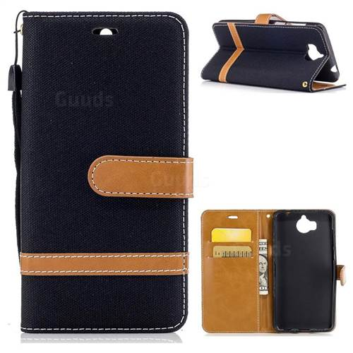 Jeans Cowboy Denim Leather Wallet Case for Huawei Y5 (2017) - Black
