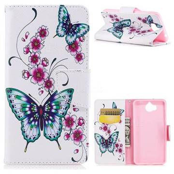Peach Butterfly Leather Wallet Case for Huawei Y5 (2017)