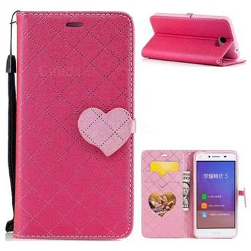 Symphony Checkered Dual Color PU Heart Leather Wallet Case for Huawei Y5II Y5 2 Honor5 Honor Play 5 - Rose