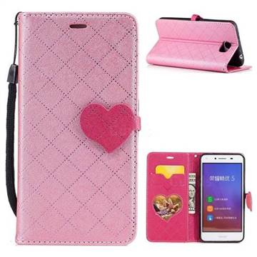 Symphony Checkered Dual Color PU Heart Leather Wallet Case for Huawei Y5II Y5 2 Honor5 Honor Play 5 - Pink