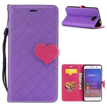 Symphony Checkered Dual Color PU Heart Leather Wallet Case for Huawei Y5II Y5 2 Honor5 Honor Play 5 - Purple