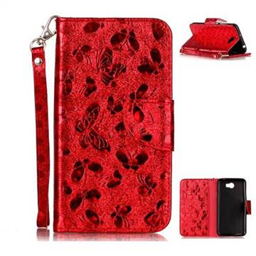 Luxury Laser Butterfly Optical Maser Leather Wallet Case for Huawei Y5II Y5 2 Honor5 Honor Play 5 - Red