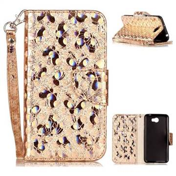 Luxury Laser Butterfly Optical Maser Leather Wallet Case for Huawei Y5II Y5 2 Honor5 Honor Play 5 - Golden