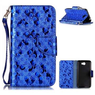 Luxury Laser Butterfly Optical Maser Leather Wallet Case for Huawei Y5II Y5 2 Honor5 Honor Play 5 - Blue