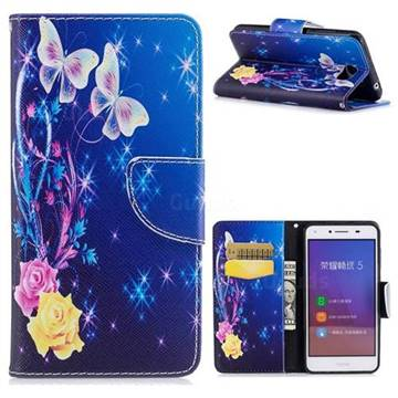 Yellow Flower Butterfly Leather Wallet Case for Huawei Y5II Y5 2 Honor5 Honor Play 5