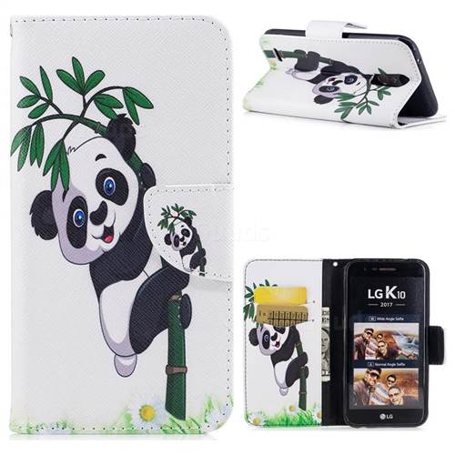 Bamboo Panda Leather Wallet Case for LG K10 2017