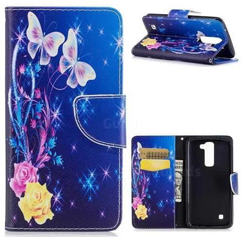 Yellow Flower Butterfly Leather Wallet Case for LG K8