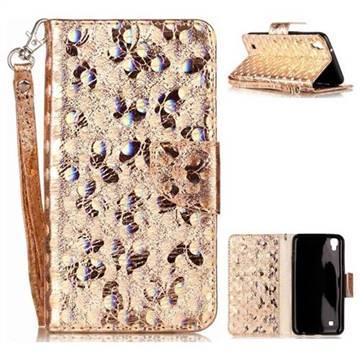 Luxury Laser Butterfly Optical Maser Leather Wallet Case for LG X Power LS755 K220DS K220 US610 K450 - Golden