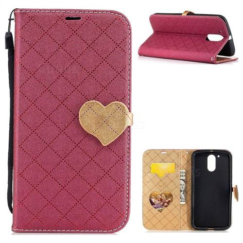 Symphony Checkered Dual Color PU Heart Leather Wallet Case for Motorola Moto G4 G4 Plus - Red