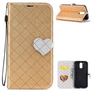Symphony Checkered Dual Color PU Heart Leather Wallet Case for Motorola Moto G4 G4 Plus - Golden
