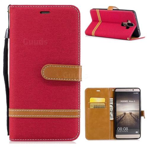 Jeans Cowboy Denim Leather Wallet Case for Huawei Mate9 Mate 9 - Red