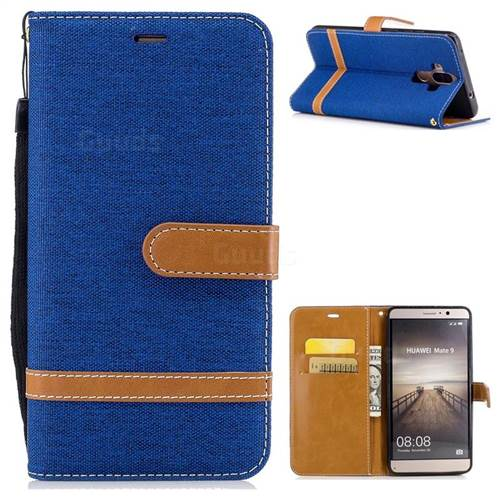 Jeans Cowboy Denim Leather Wallet Case for Huawei Mate9 Mate 9 - Sapphire