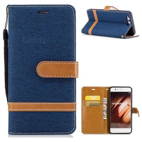 Jeans Cowboy Denim Leather Wallet Case for Huawei P10 - Dark Blue