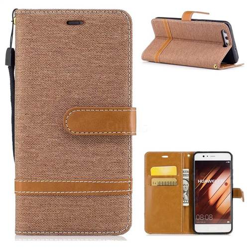 Jeans Cowboy Denim Leather Wallet Case for Huawei P10 - Brown
