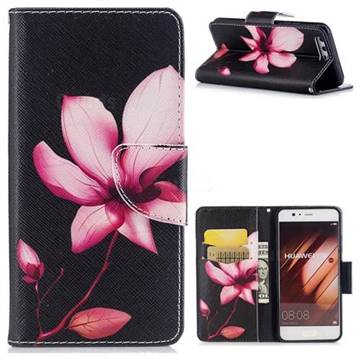 Lotus Flower Leather Wallet Case for Huawei P10