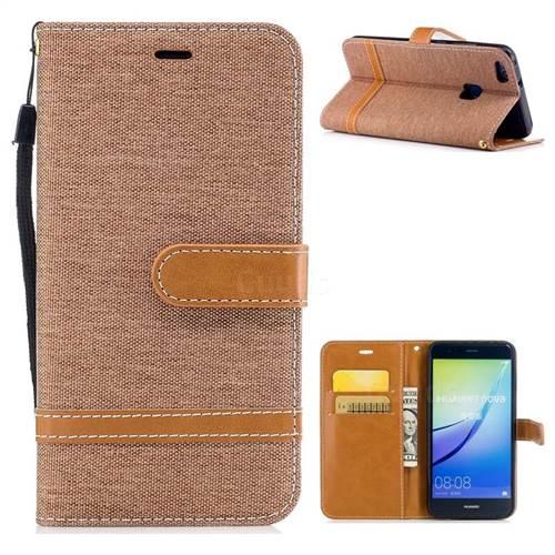 Jeans Cowboy Denim Leather Wallet Case for Huawei P10 Lite P10Lite - Brown