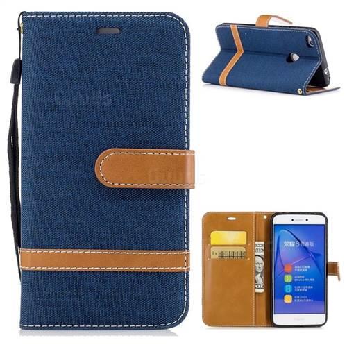 Jeans Cowboy Denim Leather Wallet Case for Huawei P8 Lite 2017 / P9 Honor 8 Nova Lite - Dark Blue