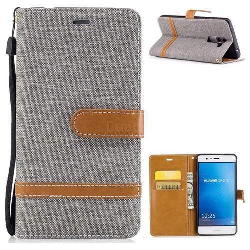 Jeans Cowboy Denim Leather Wallet Case for Huawei P9 Lite G9 Lite - Gray