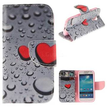 Heart Raindrop PU Leather Wallet Case for Samsung Galaxy S4 Mini i9190