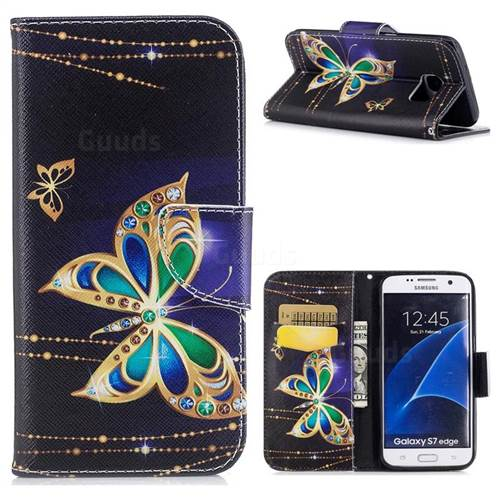 Golden Shining Butterfly Leather Wallet Case for Samsung Galaxy S7 Edge s7edge