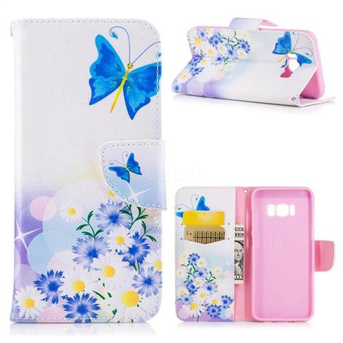 butterflies flowers leather wallet case for samsung galaxy s8