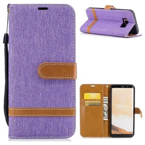 Jeans Cowboy Denim Leather Wallet Case for Samsung Galaxy S8 - Purple