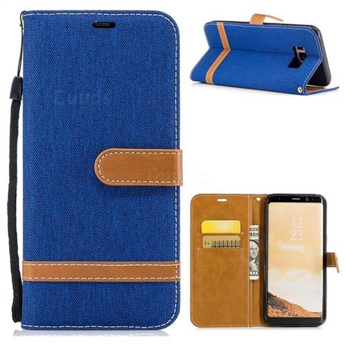 Jeans Cowboy Denim Leather Wallet Case for Samsung Galaxy S8 Plus S8+ - Sapphire