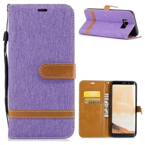 Jeans Cowboy Denim Leather Wallet Case for Samsung Galaxy S8 Plus S8+ - Purple