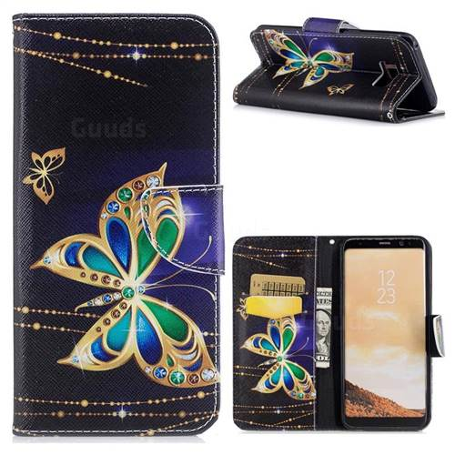 Golden Shining Butterfly Leather Wallet Case for Samsung Galaxy S8 Plus S8+