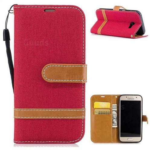 Jeans Cowboy Denim Leather Wallet Case for Samsung Galaxy A3 2017 A320 - Red