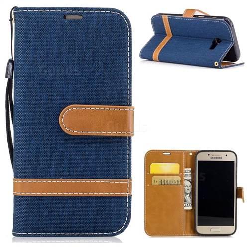 Jeans Cowboy Denim Leather Wallet Case for Samsung Galaxy A3 2017 A320 - Dark Blue