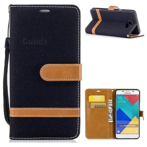 Jeans Cowboy Denim Leather Wallet Case for Samsung Galaxy A5 2016 A510 - Black