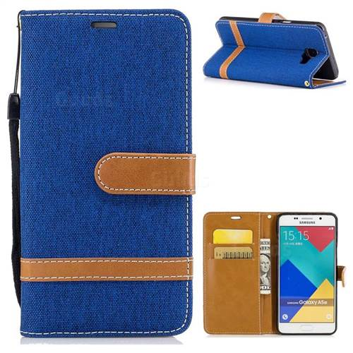 Jeans Cowboy Denim Leather Wallet Case for Samsung Galaxy A5 2016 A510 - Sapphire