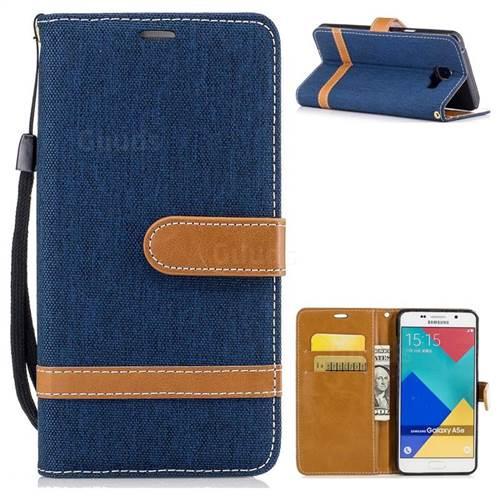 Jeans Cowboy Denim Leather Wallet Case for Samsung Galaxy A5 2016 A510 - Dark Blue