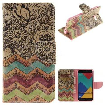 Wave Flower PU Leather Wallet Case for Samsung Galaxy A7 2016 A710