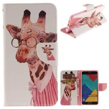 Pink Giraffe PU Leather Wallet Case for Samsung Galaxy A7 2016 A710